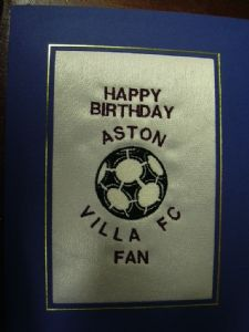 PERSONALISED EMBROIDERED ASTON VILLA FC CARD - FOOTBALL